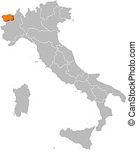 Map of Italy, Aosta Valley highlighted - Political map of...