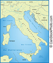 Map of Italy as an overview map in green