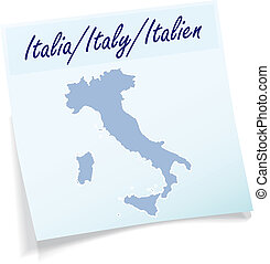Map of Italy as sticky note in blue