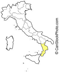 Map of Italy, Calabria highlighted - Political map of Italy...