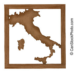 map of Italy cut from old paper