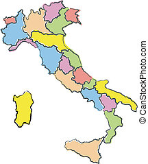Map of Italy - Full-color map of Italy, region borders...