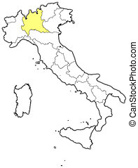 Map of Italy, Lombardy highlighted - Political map of Italy...