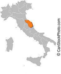 Map of Italy, Marche highlighted