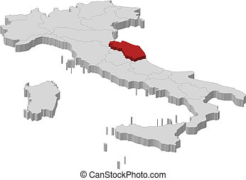 Map of Italy, Marche highlighted - Political map of Italy...