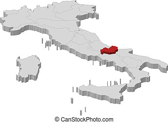 Molise with regions italy Vector map of molise with vector clip