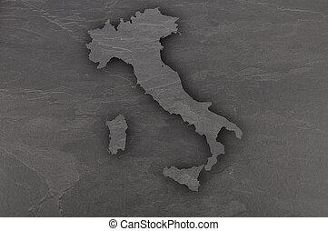 Map of Italy on dark slate