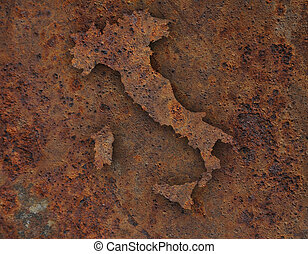 Map of Italy on rusty metal