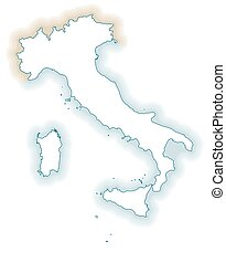Italia And Regions Silhouettes Of European Country Italia And The