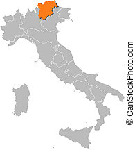 Map of Italy, Trentino-Alto Adige/Suedtirol highlighted