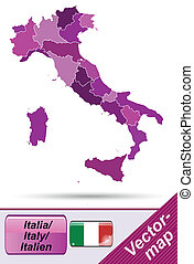 Map of Italy with borders in violet