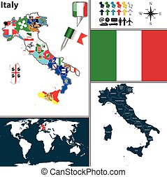 Map of Italy - Vector map of Italy with regions with flags