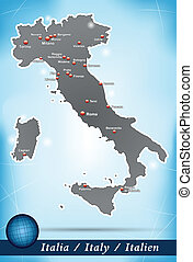 Map of Italy with abstract background in blue