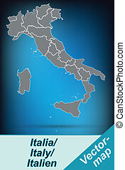 Map of Italy with borders in bright gray