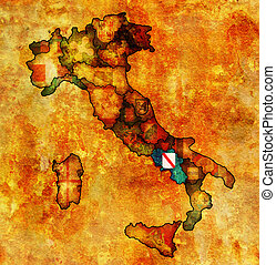 map of italy with campania region - campania region on...