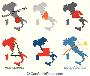 Map of Italy with Christmas symbols
