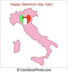 Map of Italy with flag and heart