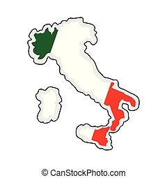 Map of Italy with its flag