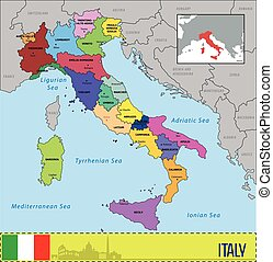 Map of Italy with regions and their capitals