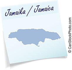 Map of Jamaica as sticky note