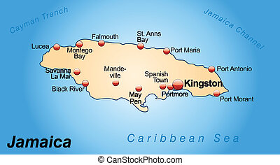 Map of Jamaica as an overview map in pastel orange