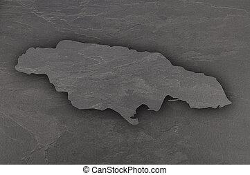 Map of Jamaica on dark slate