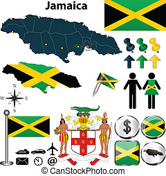 Map of Jamaica - Vector of Jamaica set with detailed country...