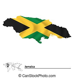 Map of Jamaica with flag