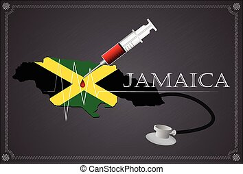 Map of Jamaica with Stethoscope and syringe.