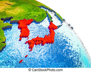 Map of Japan and Korea on 3D Earth