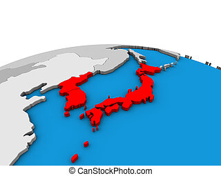Map of Japan and Korea on 3D globe