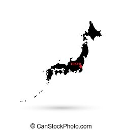Map of Japan black on white background.
