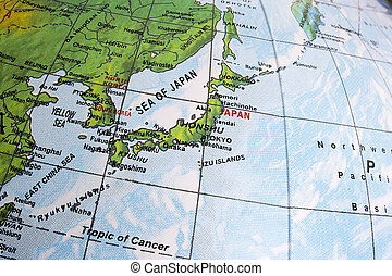 Close-up photograph of Japan on a globe.