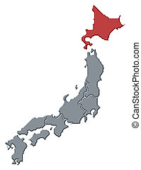 Political map of Japan with the several regions where Hokkaido is highlighted.