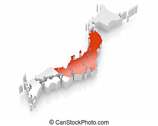 Map of Japan in Japanese flag colors. 3d