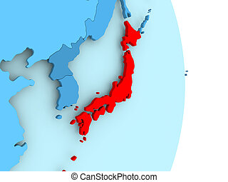 Map of Japan in red
