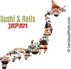 Sushi, sashimi and seafood rolls in Japan map. Japanese cuisine symbol of steamed rice with shrimps and noodles wok, oriental miso soup with fish and nori seaweed, sushi rolls and salmon sashimi with wasabi and soy sauce, chopsticks and green tea