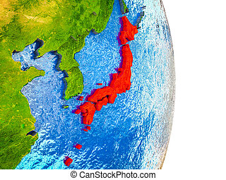 Map of Japan on 3D Earth
