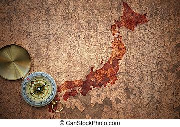 map of japan on a old vintage crack paper