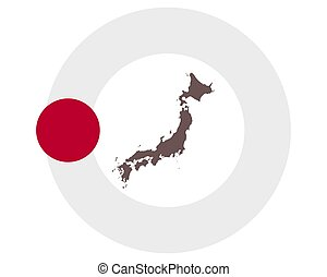 Map of Japan on background with flag