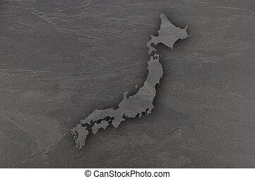 Map of Japan on dark slate