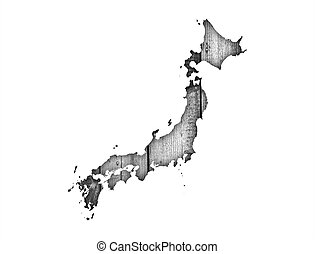Map of Japan on weathered wood