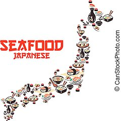 Map of Japan with asian cuisine seafood dishes. Japanese...