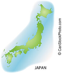 Map of Japan with borders in green
