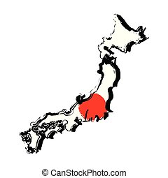 Map of Japan with flag