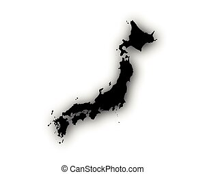Map of Japan with shadow