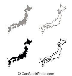 Map of Japon icon set grey black color