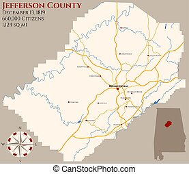 Map of Jefferson County in Alabama - Large and detailed map...