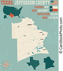 Map of Jefferson County in Texas - Detailed map of Jefferson...