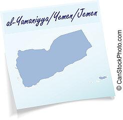 Map of Jemen as sticky note